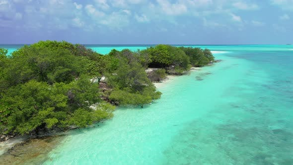 Thumbnail for Natural aerial island view of a sandy white paradise beach and turquoise sea background