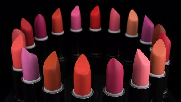 Lipsticks with a Tint of a Red and Cosmetic Collection for Woman and Stylists 4k