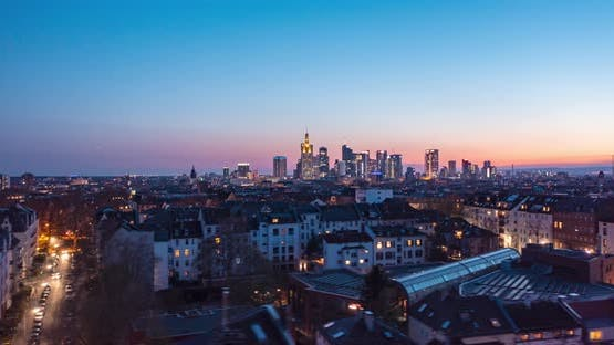 Aerial Hyper Lapse View of Frankfurt City Center and Residential Suburbs with Bright City Lights in