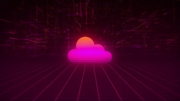 Synthwave Wireframe Net and Cloud 80s