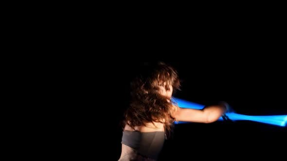 Thumbnail for Beautiful Woman Dance With Neon Staffs In Ultraviolet Light 9