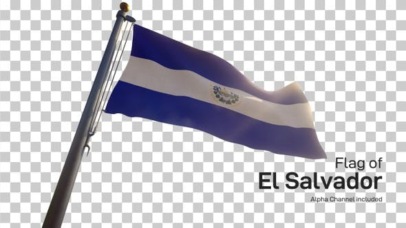 Thumbnail for El Salvador Flag on a Flagpole with Alpha-Channel