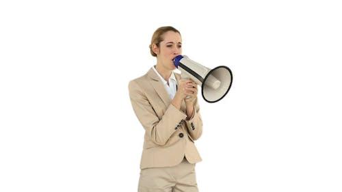 Bossy Businesswoman Shouting Through Megaphone