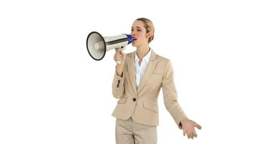 Positive Businesswoman Shouting Through Megaphone