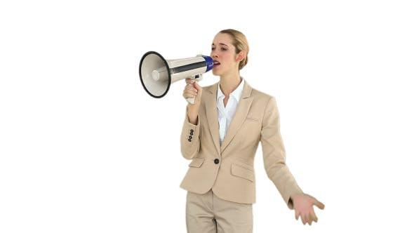 Thumbnail for Positive Businesswoman Shouting Through Megaphone