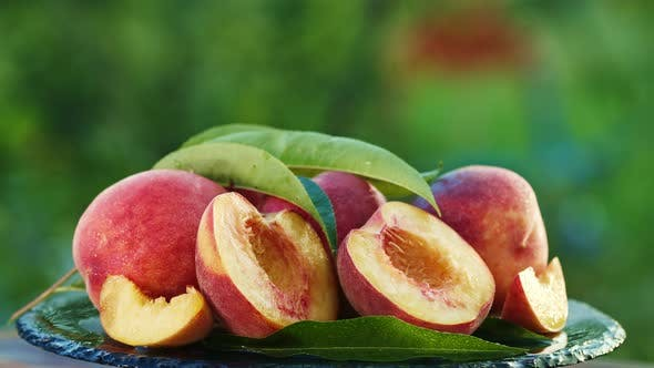Thumbnail for Ripe Peaches and Nectarine Rotating on Black Surface with Water Drops or Dew, Abstract Organic