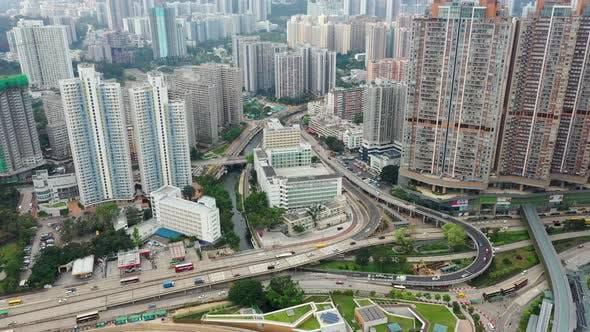 Thumbnail for Drone fly Hong Kong city at kowloon side