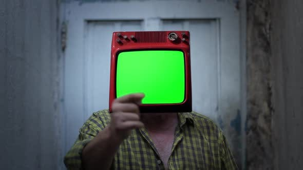 Thumbnail for Retro TV with Green Screen on the Head of a Man.
