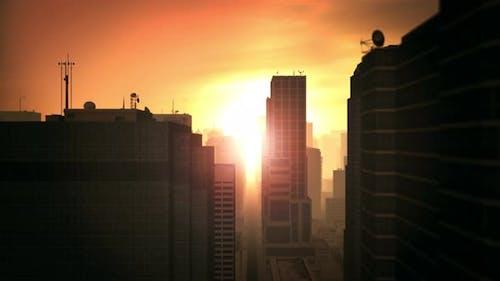 4K Flying Above City Tower Sunset