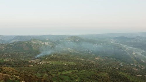 Aerial view of the Calabrian hills. Aspromonte.