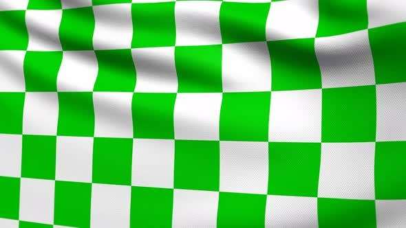 Thumbnail for Auto Racing Green White Checkered Flag 4K