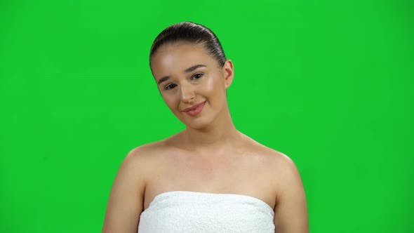 Thumbnail for Amazed Girl with Smile and Wow Face Expression on Green Screen at Studio