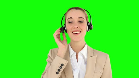 Smiling Call Centre Agent Talking On The Headset 1