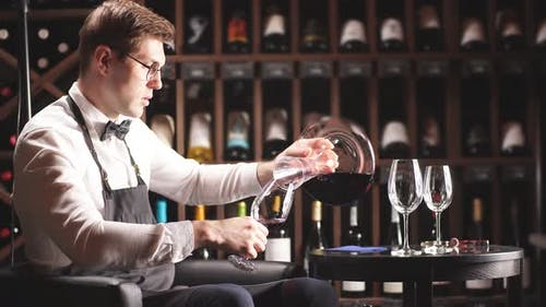 Expert Decanting and Pouring Wine Into Glass