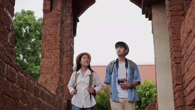 Couple visit ancient temple