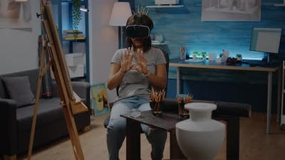 African American Woman Using Vr Glasses for Inspiration