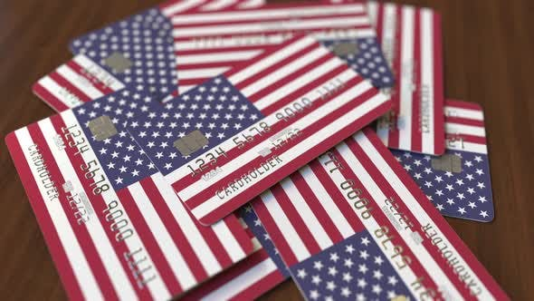 Thumbnail for Pile of Credit Cards with Flag of the United States