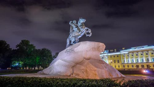 Timelapse monument to Peter I. Architecture of St. Petersburg, historical city