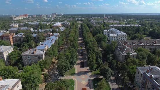 Thumbnail for Aerial Summer Townscape with Tree-lined Walkway and Residential Area, Russia