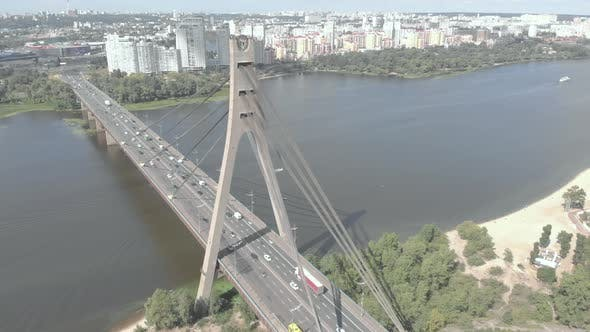 Thumbnail for North Bridge Over the Dnipro River. Kyiv, Ukraine. Aerial View
