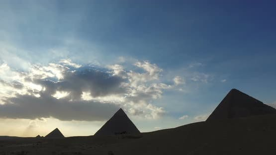 View of Giza pyramids in the evening