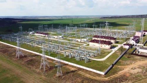 High voltage electrical substation.