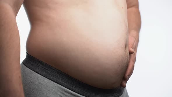 Closeup Male Stomach Overweight