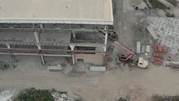 Thumbnail for Aerial Drone View. Huge Workshop Buildings of Future Production Plant at Industrial Complex