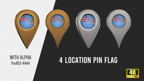 Fiji Flag Location Pins Silver And Gold