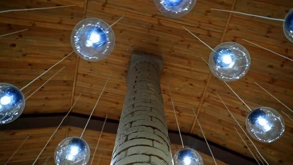Modern ceiling with light lamp balls.