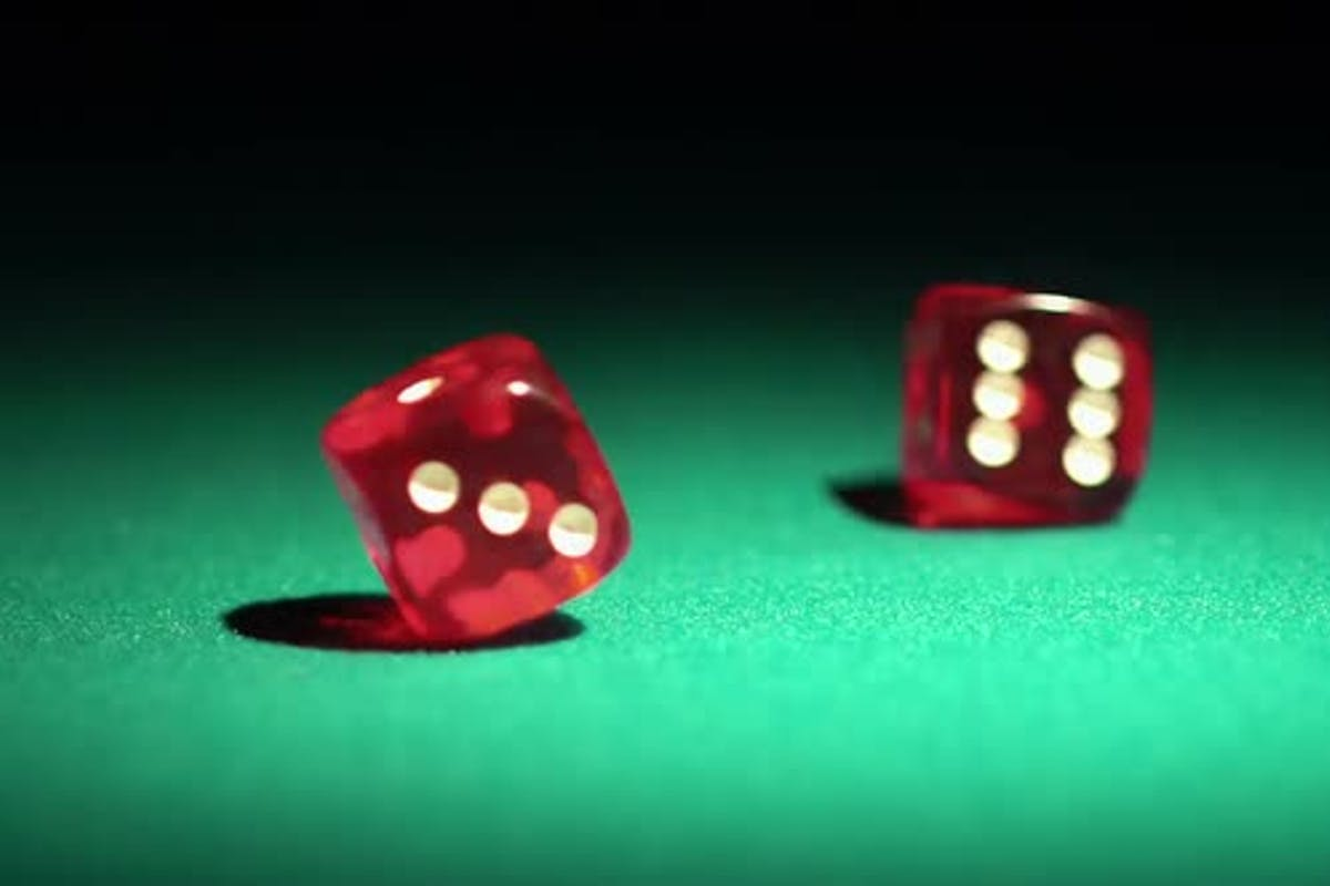 Red Casino Dice Rolling On Green Table In Slow Motion Chances To