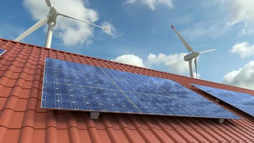 Ecology clean intelligence home with solar panels and wind turbines