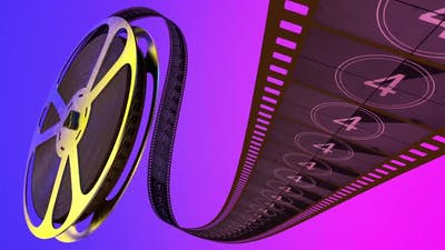 Film Strip and Film Reel in Cinema Spool with Sequence Countdown