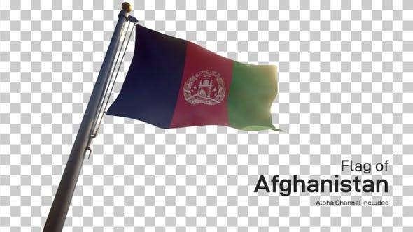 Afghanistan Flag on a Flagpole with Alpha-Channel