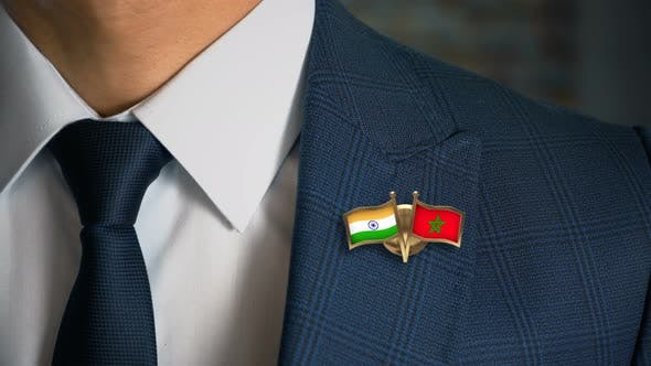 Thumbnail for Businessman Friend Flags Pin India Morocco
