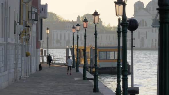Thumbnail for - A Venice Embankment with Beautiful Lampposts