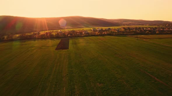 Thumbnail for Aerial View on Landscape at Sundown
