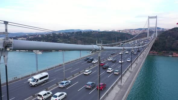 Thumbnail for Istanbul Bosphorus Bridge And Traffic Side Aerial View