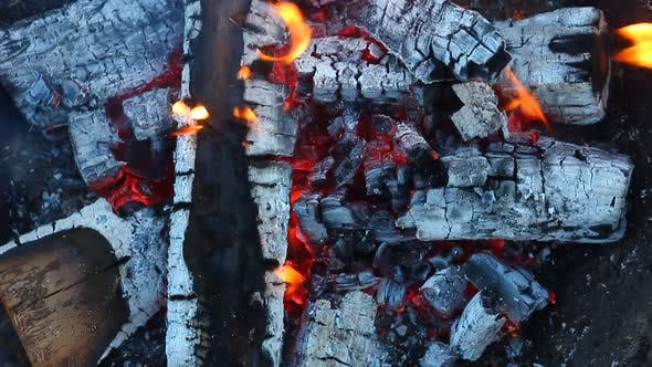 Texture of Burning Lights and Fire in a Bonfire
