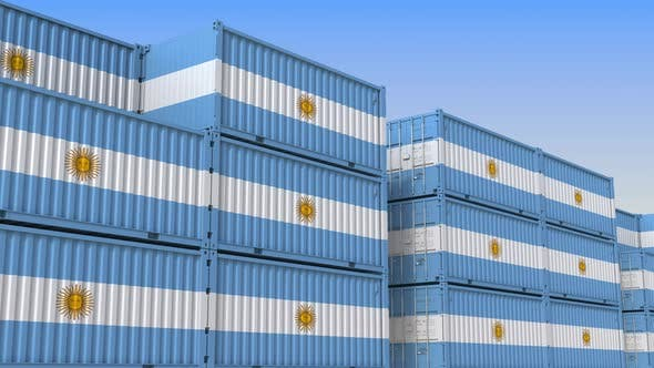 Thumbnail for Container Terminal Full of Containers with Flag of Argentina