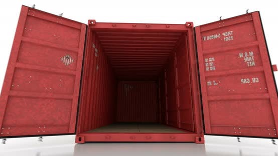 Cover Image for Red Shipping Container Falls onto White Floor and Doors Opening