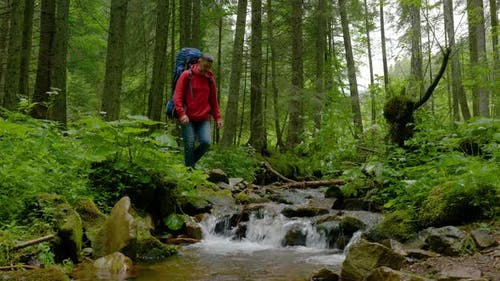 A Man with a Backpack Crosses a Mountain Stream in the Forest