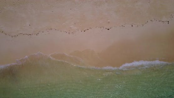 Wide birds eye abstract view of a white sand paradise beach and aqua blue water background in best q