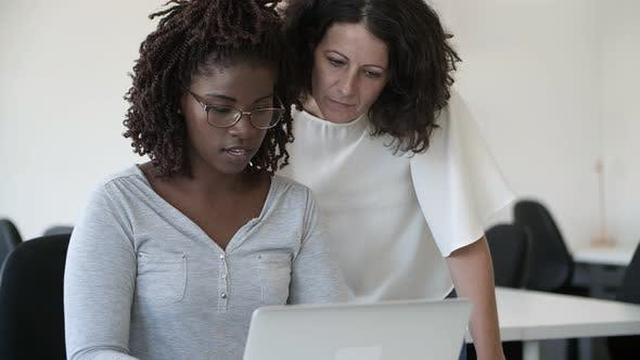 Two Focused Workers Talking and Looking at Laptop