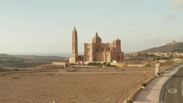 Ta' Pinu Basilica Castle in Dry Country of Gozo Island, Malta Im Sand Brown Color, Beautiful Aerial