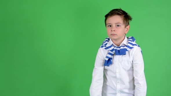 Thumbnail for Young Handsome Child Boy Is Bored - Green Screen - Studio