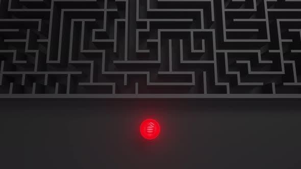 Thumbnail for Red luminous ball in dark black maze