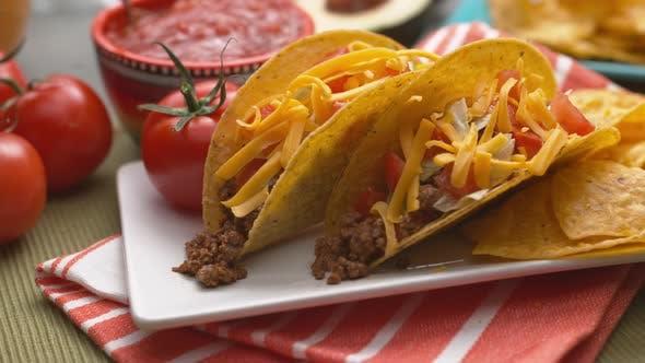 Tacos on plate in super slow motion, shot on Phantom Flex 4K