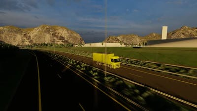 Yellow Color Freight Truck Driving Highway