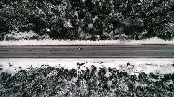 Thumbnail for Winter Roadtrip Travel Over Snowy Mountain Pass